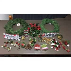 Other - Christmas Wreath Craft Supplies Ribbon Birds etc